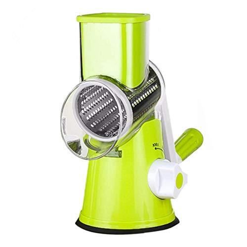 Odoukey 1 de Ajuste Manual de Queso Rotary rallador de Verduras Mandoline Slicer Cortador de la Fruta Queso trituradora de Tambor rotatorio con el rallador de Acero Inoxidable de 3 Segadoras (Verde)