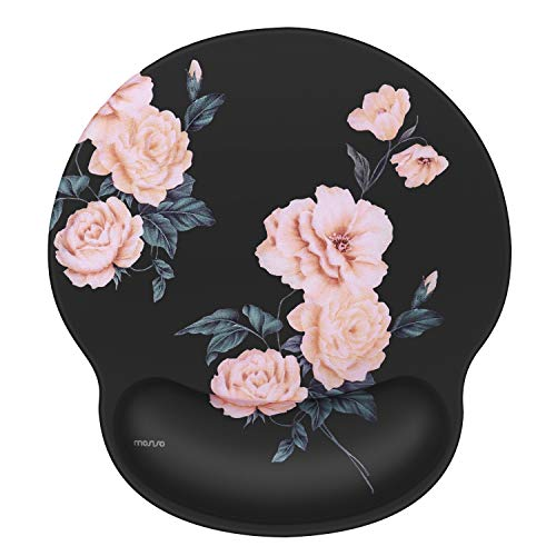 MOSISO Mouse Pad Gel Wrist Rest Support, Camellia Ergonomic Mousepad Non-Slip Rubber Base Home/Office Pain Relief&Easy Typing Cushion for Laptop with Neoprene Cloth&Raised Memory Foam, Black