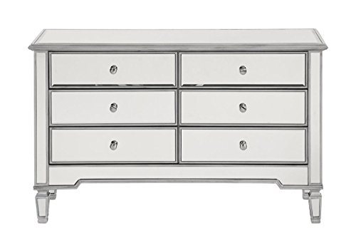 "Elegant Lighting Contemporary 6 Drawer Dresser 48"" x 18"" x 32"" in Silver Paint"