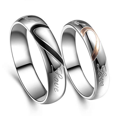 DRG Gioielli Alianzas de compromiso de acero con medio corazón abierto con grabado Real Love para él y ella, simples alianzas de boda o de 4 mm, fe-04