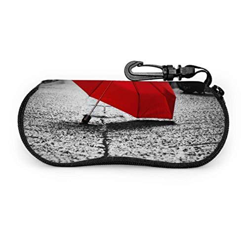 Paraguas rojo sobre adoquines, calle antigua, funda para gaf