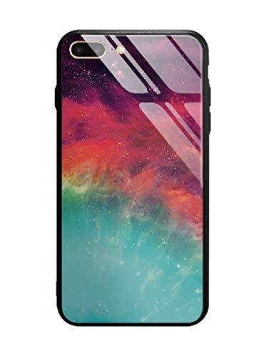 Funda iPhone 7 Plus/8 Plus, funda protectora de cristal templado 9H [antiarañazos] + borde y marco de TPU [silicona suave] [antigolpes] estilo Galaxy universal.