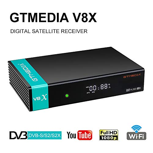 GTMEDIA V8X DVB-S / S2 / S2X Decodificador de Receptor de TV Satelital Digital con Wi-Fi Incorporado / 1080P Full HD / FTA Soporte CC CAM, Youtube, Ranura para Tarjeta CA (V8 Nova Actualizado)