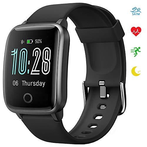 Smartwatch, KUNGIX Fitness Armband Tracker Uhr IP68 Wasserdicht, Sportuhr mit Schrittzähler Pulsuhren Stoppuhr Atemtraining, Touchscreen Smart Watch für Damen Herren für iOS Android Armbanduhr