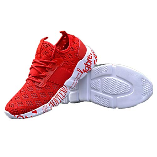 Buy Discount BIKETAFUWY Men's Running Shoes Mens Mesh Breathable Woven Sneakers Walking Sports Shoe for Men Athletic Slip On Training Red
