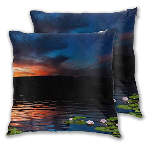 WINCAN Square Cushion Cover 45x45cm 2 pieces Set,Tropical Leaves Natural,decorative Throw Pillow Case for Couch Sofa Chair Bed Home office Decor