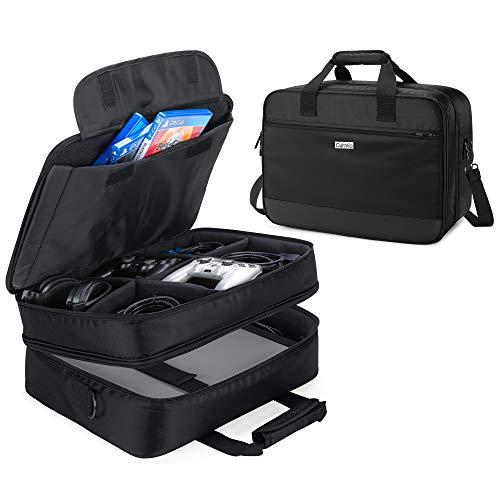 CURMIO Reisetasche für Playstation 4/4 Pro, Xbox 360, Xbox ONE, Xbox ONE X Spielekonsole und Zubehör, PS4 Tragebare Aufbewahrungstasche für Playstation Konsole, (OHNE ZUBEHÖR ENTHALTEN),Schwarz