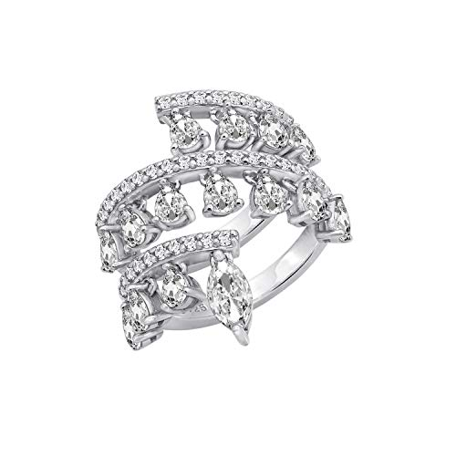 KIERA COUTURE Platinum Clad Sterling Silver 3.7 cttw Dangle Cubic Zirconia Wrap Ring, Size 8