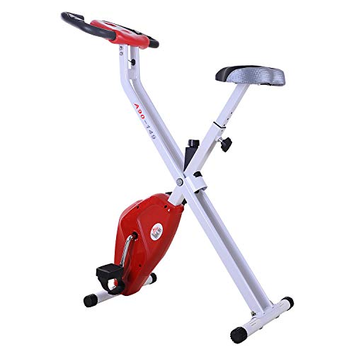 HOMCOM Bicicleta de Fitness Plegable Bicicleta Estática para Entrenamiento Pantalla LCD Asiento Ajustable Resistencia Regulable Carga 110kg 83x43x110cm Acero Blanco