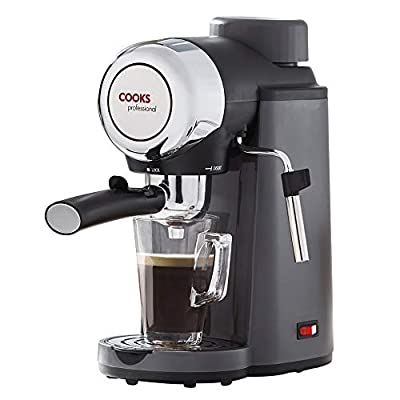 Cooks Professional Espresso Coffee Machine with Milk Frothing Arm 800W (Grey)