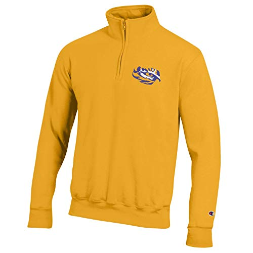Champion NCAA Men's Powerblend Cotton-Poly 1/4 Zip Pullover (LSU Tigers-Gold, Large)