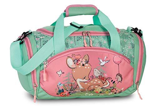 Ragusa-Trade Sporttasche Reisetasche mit süßen REH Rehkitz Deer als Motiv, für Jungen und Mädchen, rosa/türkis, 35 x 22 x 18,5 cm