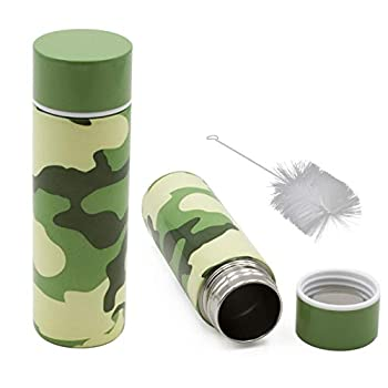 CASEMATIX Stainless Steel Pocket Spittoon 5-Ounce Travel Spit Cup with Cleaning Brush Included - Portable Dip Spit Bottle with Camo Design Spitoon for Car Wide Mouth Reusable Spit Cups for Chew