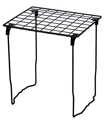 LockerMate Stac-A-Shelf Locker Organizer Shelf, Stackable, Extra Tall, Fits Standard Size School Lockers, Black