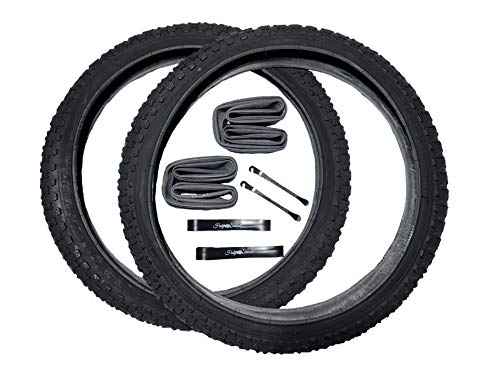 Holy Shinobi 20 Inch Bike Tires, BMX TIRE, Durable Wire Bead Tires, Black 20 x 2.125 Replacement Bike Tire Bundle Kit, 20 in. Inner Tube, 20 in. Rim Lining Strips, and Set of Levers