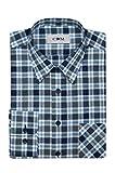 CDM - Herren Karo Langarm Hemd mit Kent Kragen (20417020), Farbe:Blau (200), Kragenweite:39/40