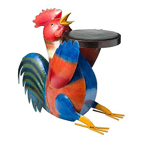CMMWA Chicken Patio Beistelltisch, Volkskunst Patio robuste Möbel Tierharz Statuen für Courtyard Landscape & Small Game Tisch Kreative gemalte Ornamente Hall Decor
