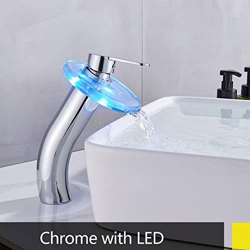 JYHW LED Cromo Lavabo Grifo de fregadero Led alto alimentado por batería Montaje en cubierta Diseño moderno Grifo mezclador frío caliente Grifo CHINA cromo LED