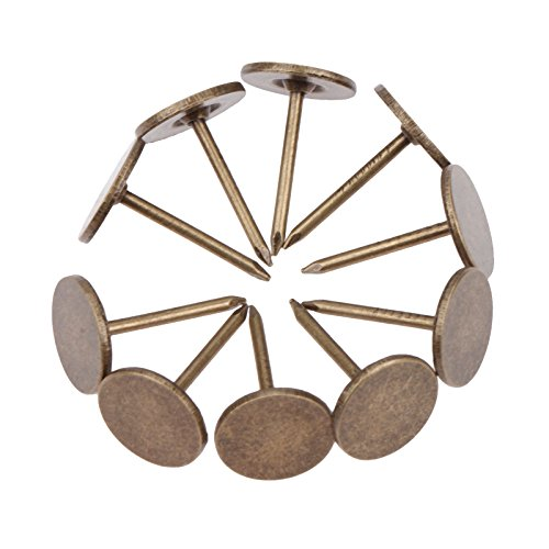 """100Pcs Iron 0.43""""x0.67"""" Vintage Style Flat Upholstery Nails Studs Tacks Pins for Furniture Sofa Door Decoration"""