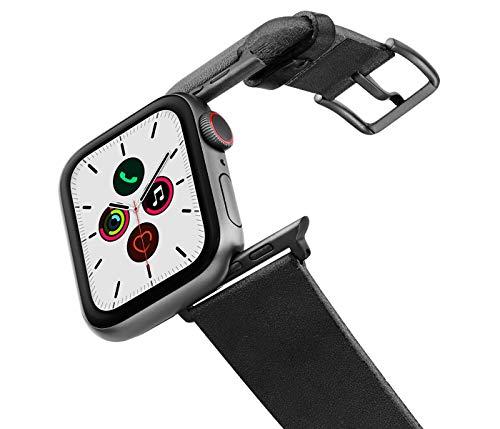 MERIDIO Cassel | Cinturino per Apple Watch Serie 6 & SE|5|4|3|2|1 in Cuoio Nero Lavorato a Mano in Italia | 42-44mm, Alluminio Grigio Scuro
