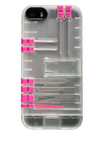 IN1 Multitool-Schutzhülle mit rosanen Werkzeugen für Smartphones, transparent