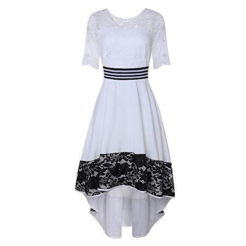 Vestido de encaje con dobladillo irregular, de manga media, para mujer