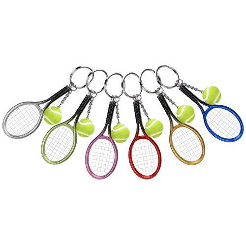 WNSC Mini Llavero De La Raqueta De Tenis, Portátil Plástico Colgante del Bolso 6Pcs para El Regalo De Los Amigos del Bolso para El Equipaje