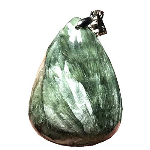 DUOVEKT Seraphinite Pendant, Natural Green Seraphinite Crystal Stone for Women Men 32x23x12mm Beads Silver Water Drop Gemstone Jewelry AAAAA