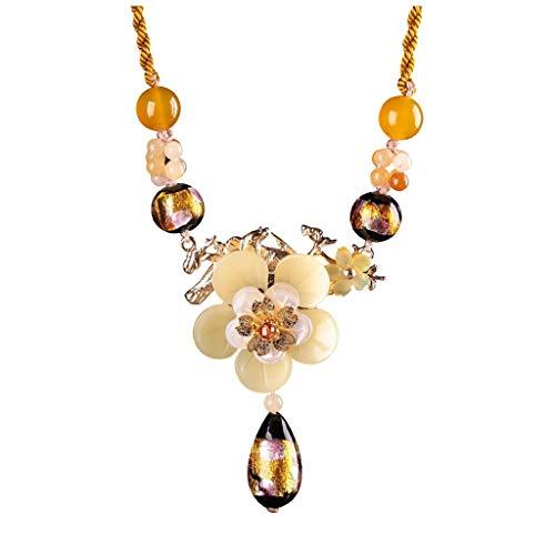collares de mujer de moda Cuerda de composición doble de la flor del estilo étnico amarillo colgante temperamento manera pendiente del collar de la señora suéter colgante planta de la flor de la hebil