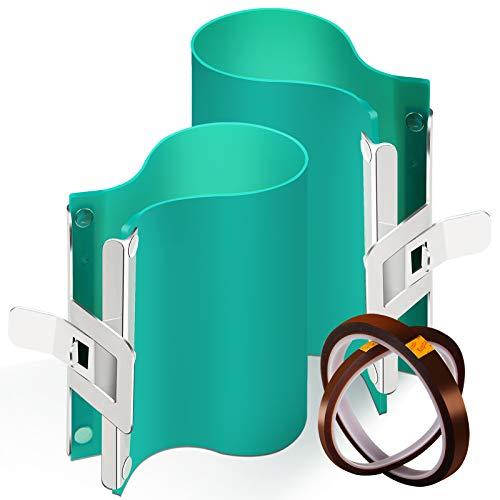 2 abrazaderas de silicona para tazas de 325 ml y 445 ml, Sublimación 3D de silicona para tazas con 2 rollos de cinta resistente al calor (5 m x 33 m y 10 m x 33 m) para máquinas...