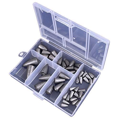 Jorzer Sea Gewichte Angeln, Fischen Bleie Gewichte Kit Wurm Angeln Senkbleie Set 2g 3,5 G 7 G 10 G 20 G Für Dead-köder-fischen Silber 50pcs