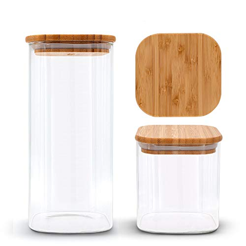 MOLIS® Vorratsgläser Set (3-teilig) - Eckige, stabile Vorratsgläser mit Bambusdeckel - 1x 1500ml/ 2x 750ml - große Vorratsdosen - vielseitig einsetzbare und aromadichte Vorratsbehälter