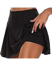 GAGA Women's Stretch Waist Skirt Flared Mini Skater Skirt Casual Pleated Skirt