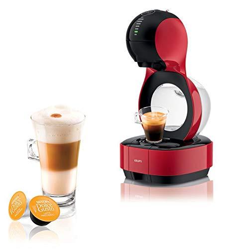 Krups Nescafé Dolce Gusto Lumio rouge, Machine à café Ultra compact, Cafetière a dosette Multi-boissons, Design, Porte capsule exclusif, Réservoir 1L, Pression 15 bars, Mode eco KP130510