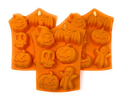 Halloween Silicone Mold Bundle: Includes 3 Halloween Molds: Pumpkins, Pumpkin with Witch Hat, Ghost, Skull, Bat for Candy, Cakes, Soaps, Ice Cubes, Bath Bombs, Fondant Decorations, Party Favors