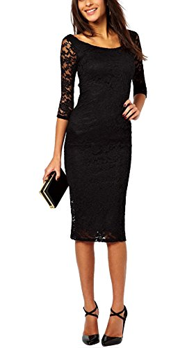 Vestido de Encaje Negro Cóctel Vestidos Novia Midi M