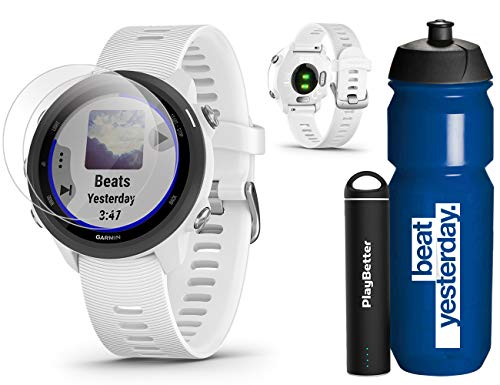 Garmin Forerunner 245 Music (White) Runner's Bundle | +Garmin Water Bottle, HD Screen Protectors & PlayBetter Portable Charger | Music & Spotify, PulseOx | Running GPS Watch | 010-02120-21