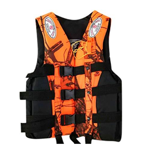 Adults Life Jacket Aid Vest - Classic Series S-XXXL Oversized Life Jacket, Life Vests Adults Lifejacket for Men Women Teens Kayak Ski Buoyancy Fishing Boat Watersports (Orange 02, S)