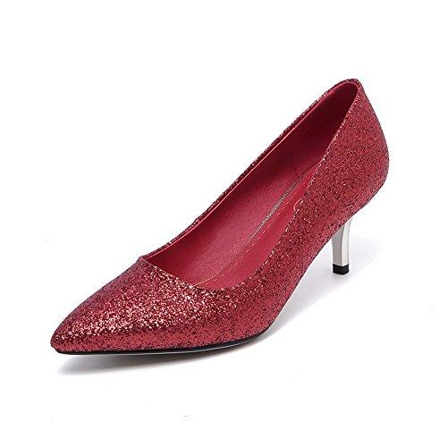 VogueZone009 Damen Mittler Absatz Weiches Material Rein Ziehen auf Spitz Zehe Pumps Schuhe, Rot, 36