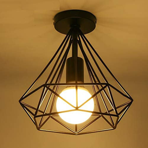 Moderne zwarte diamond ijzeren ceiling light fixture home deco dining kamer vintage minimalistisch piramid E27 LED-lampen