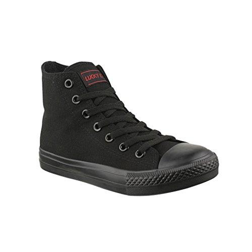 Elara Unisex Kult Sneaker Bequeme Sportschuhe fur Damen und Herren High Top Textil SchuheChunkyrayan Farbe :-All Black(schwarz), Gr:-38 EU