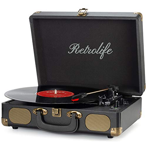 Vinyl Record Player 3-Speed Bluetooth Suitcase Portable Belt-Driven...