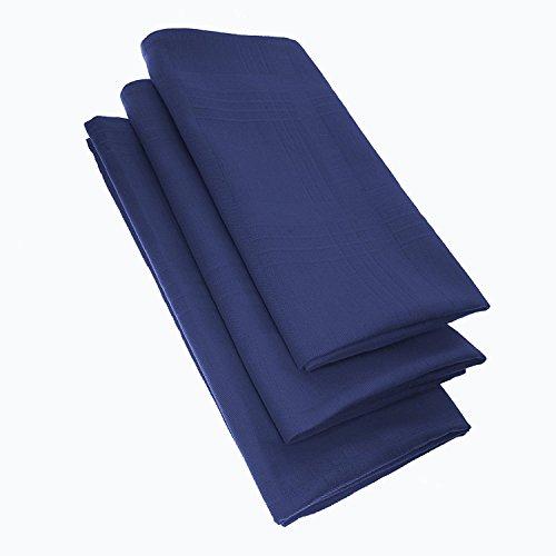 Damilo Lot de 3 serviettes en tissu 100 % coton - 44 x 44 cm - Couleur : bleu.