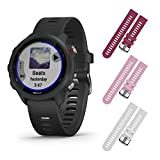 Garmin Forerunner 245 Music GPS Running Smartwatch with Included Wearable4U 3 Straps Bundle (Black Music 010-02120-20, Berry/Pink/White)