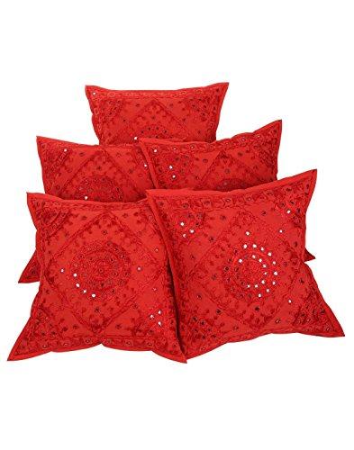Radhy Krishna Fashions - Juego de 5 Fundas de cojín de algodón con Bordado geométrico Rojo, 40,6 x 40,6 cm