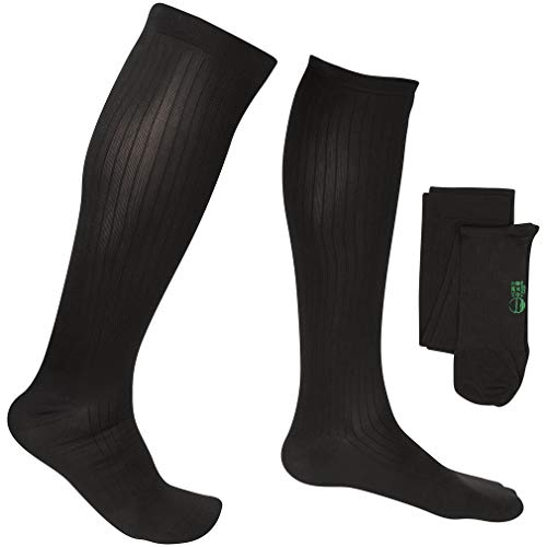 EvoNation Men's Travel USA Made Graduated Compression Socks 8-15 mmHg Mild Pressure Medical Quality Knee High Orthopedic Support Stockings Hose - Best Comfort, Fit, Circulation (Medium, Black)