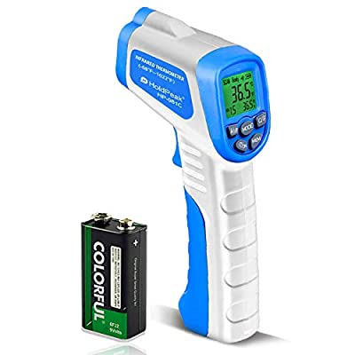 HOLDPEAK 981C Infrared Thermometer Non Contact Digital Laser Temperature Gun Instant-Read -58 to 1022? (-50 to 550?) with 9V Battery , Data Hold and High Low Temperature Warning