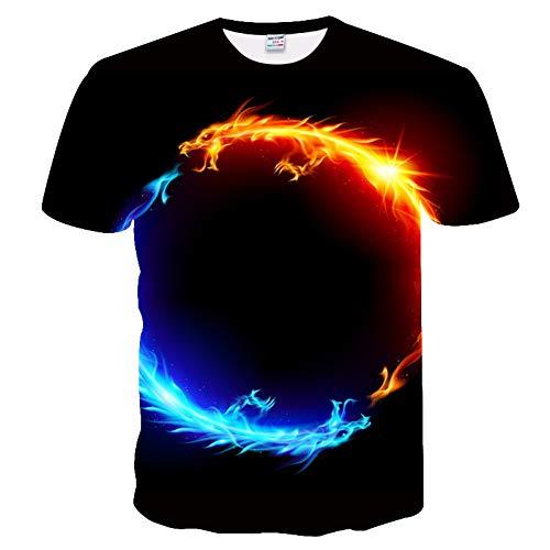 XJWDTX 3D Digitaldruck T-Shirt Wasser Feuer Drachen Planet Sommer Shirt