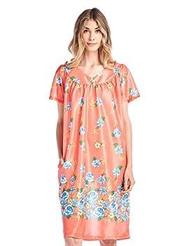 Casual Nights Women s Short Sleeve Muumuu Lounger Dress - Coral - Small