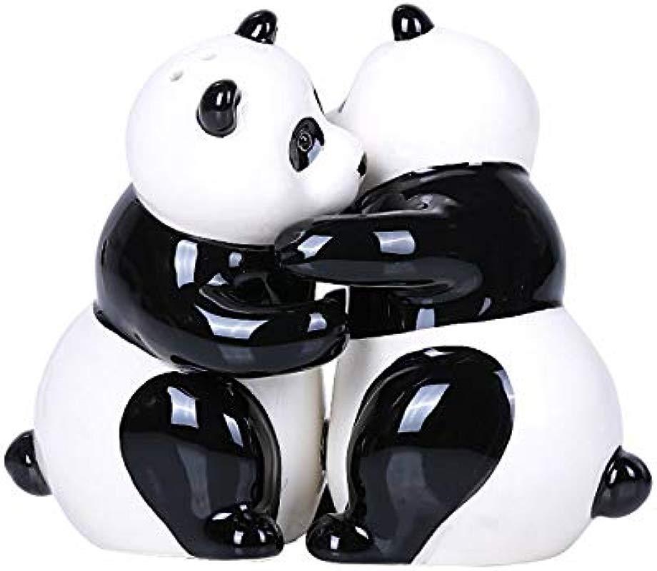 Hugging Panda Magnetic Ceramic Salt And Pepper Shakers Set